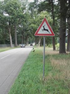 Das Verkehrsschild Wildwechsel soll zur Wildunfallvermeidung beitragen - runter vom Gas.